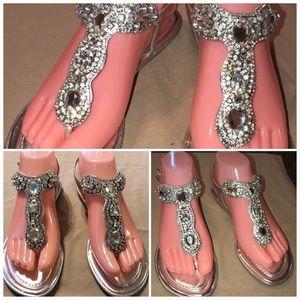 Antonio Melani silver bling thong sandals 6.5M